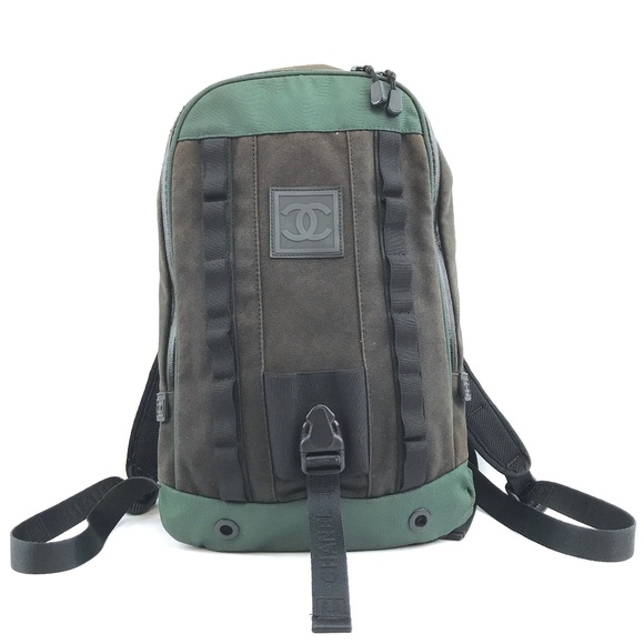 258b7e2b9eb CHANEL Bags | Sports Line Black Green Fabric And Rubber Backpack ...